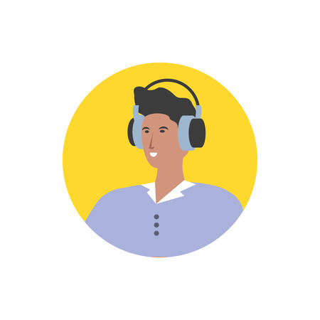 young man with earphones technology vector illustration design