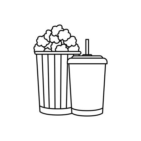 container beverage drink with popcorn vector illustration design