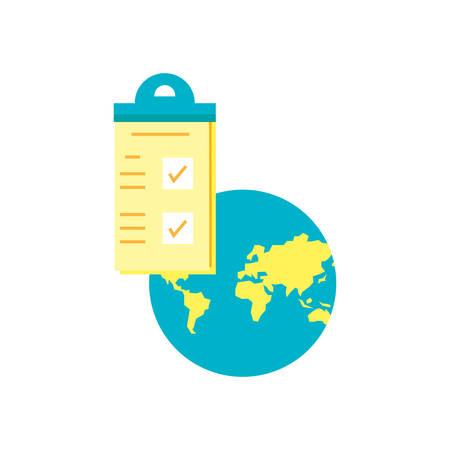 checklist clipboard with planet earth vector illustration design