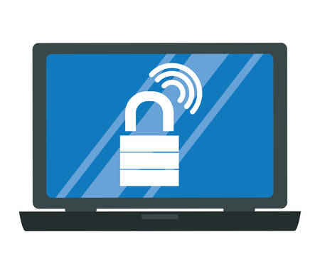 laptop with security padlock vector illustration design