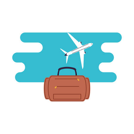 travel suitcase equipment with airplane flying vector illustration design Çizim