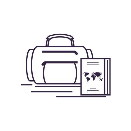 travel suitcase equipment with passport vector illustration design