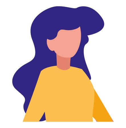 avatar woman over landscape background, vector illustration