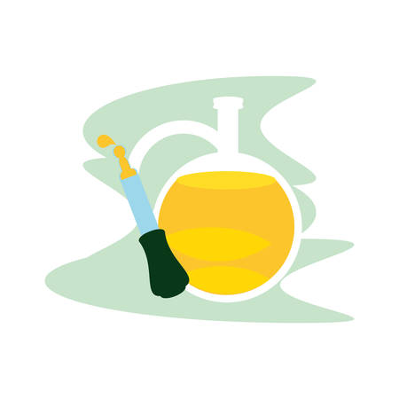 cannabis bottle product dropper with oil jar vector illustration design Illustration