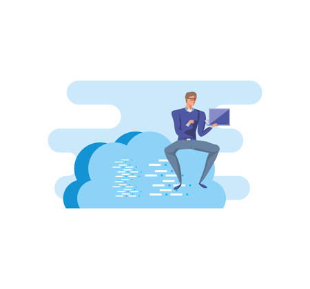business man sitting in cloud computing with laptop vector illustration design