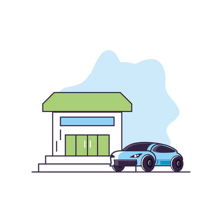 house facade with car sedan transportation vector illustration design
