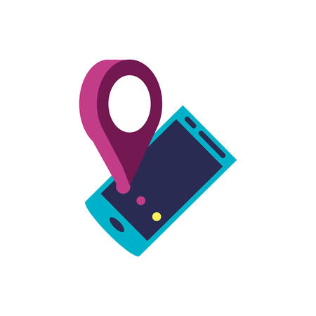 smartphone device with pin location vector illustration design