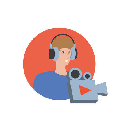young man with earphones and video camera vector illustration design Çizim