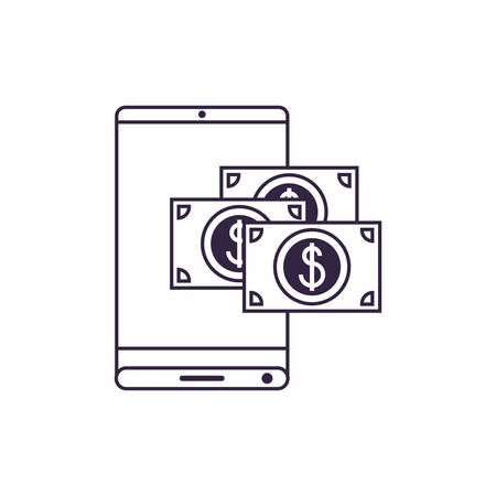 smartphone device with bill dollar application vector illustration design