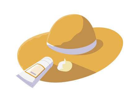 summer straw hat and solar blocker product vector illustration design