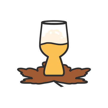 cup of beer with maple leafs oktoberfest festival vector illustration design
