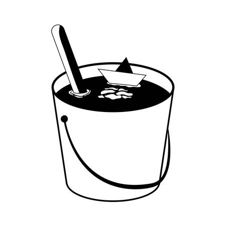 water bucket with paper ship vector illustration design