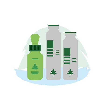 cannabis dropper with bottles products vector illustration design Illustration