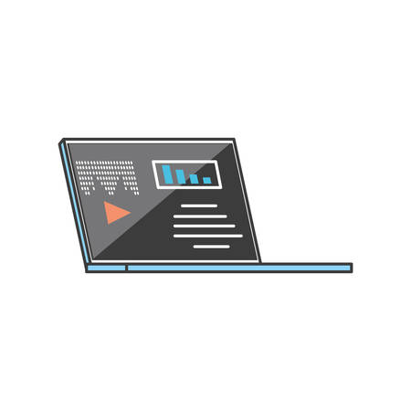 laptop computer with media player technology vector illustration design Stock Vector - 134754013