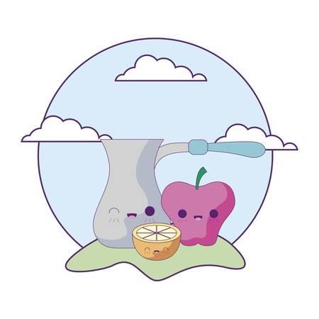 cute teapot with set fruits in landscape   vector illustration design