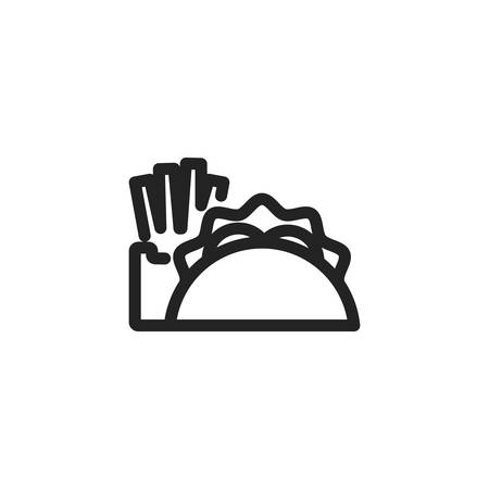taco and french fries icon design, Eat food restaurant menu dinner lunch cooking and meal theme Vector illustration 版權商用圖片 - 134693498