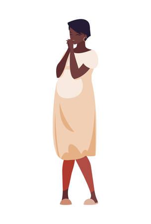 beautiful afro pregnancy woman character vector illustration design Illusztráció