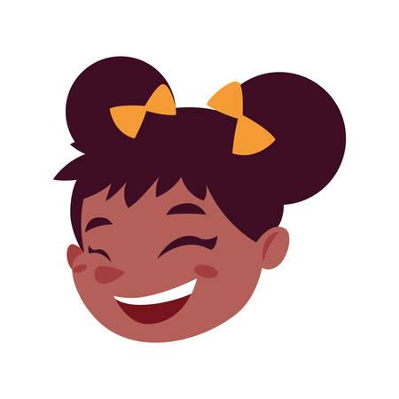 Girl cartoon head design, Kid childhood little people lifestyle and person theme Vector illustration