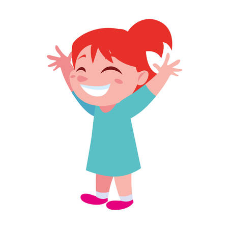 Girl cartoon design, Kid childhood little people lifestyle and person theme Vector illustration