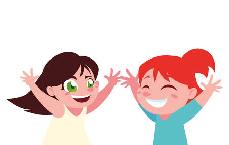 Girls cartoons design, Kid childhood little people lifestyle and person theme Vector illustration