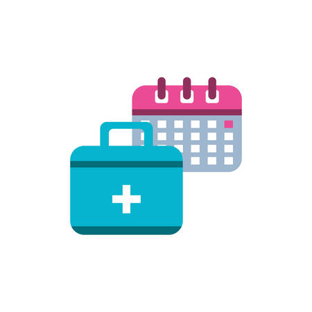 calendar reminder with first aid kit vector illustration design Ilustrace