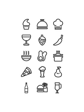 icon set pack design, food drinks eat restaurant menu dinner lunch cooking and meal theme Vector illustration Ilustracja