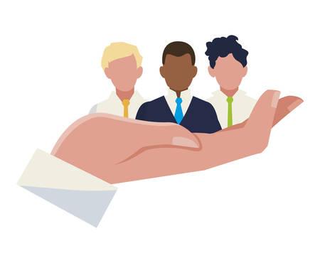 hand lifting businessmen group teamwork characters vector illustration design
