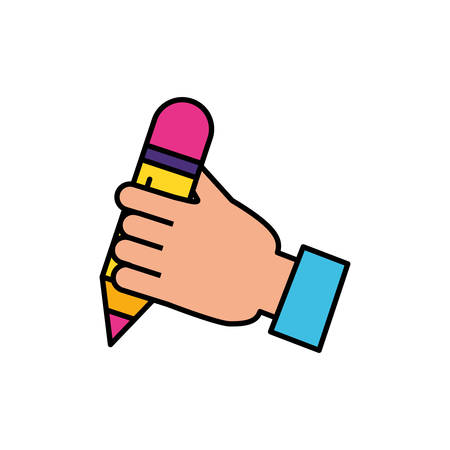 hand with pencil supply writing vector illustration design