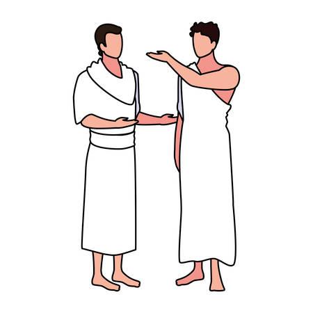 men pilgrim hajj on white background vector illustration design Illusztráció