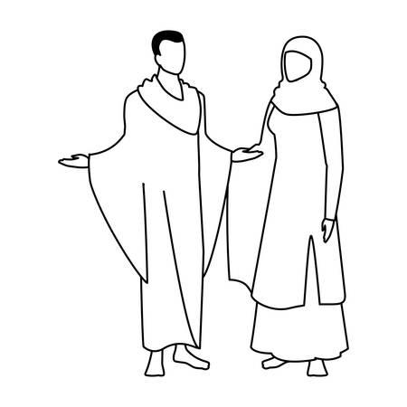 couple of people pilgrims hajj on white background vector illustration design Archivio Fotografico - 134754553