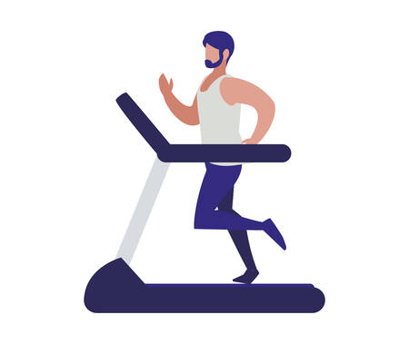 athletic man running in electric treadmill tape vector illustration design