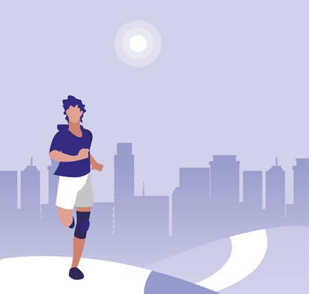 athletic man running in the park vector illustration design Illustration