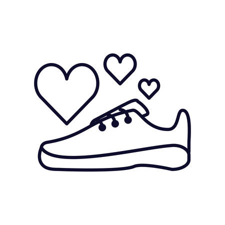 shoe runner with hearts isolated icon vector illustration design