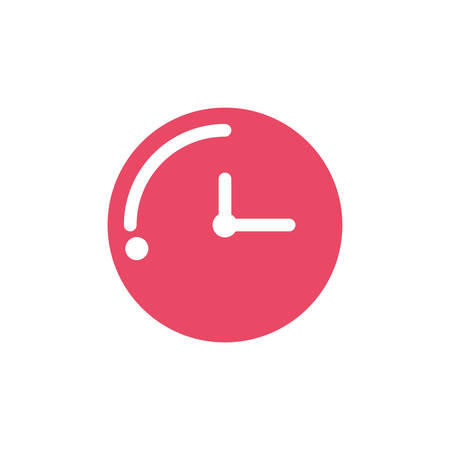 alarm clock of color red on white background vector illustration design