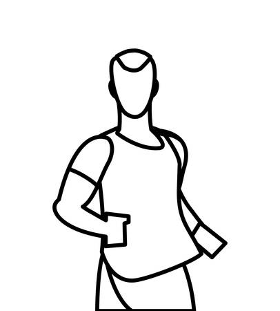athletic man running character vector illustration design Illustration