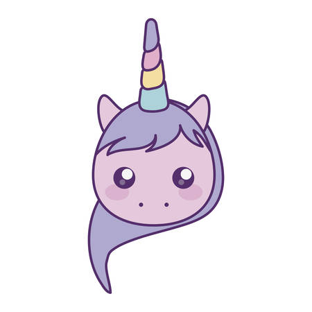 head of cute little unicorn baby character vector illustration design