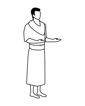 man pilgrim hajj standing on white background vector illustration design Archivio Fotografico - 134754742