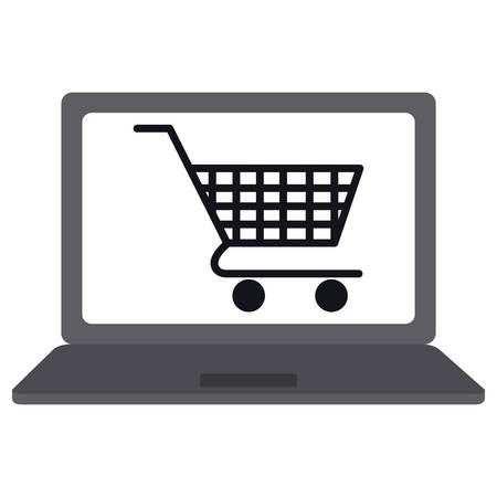 laptop computer with shopping cart vector illustration design Stock Vector - 134745528