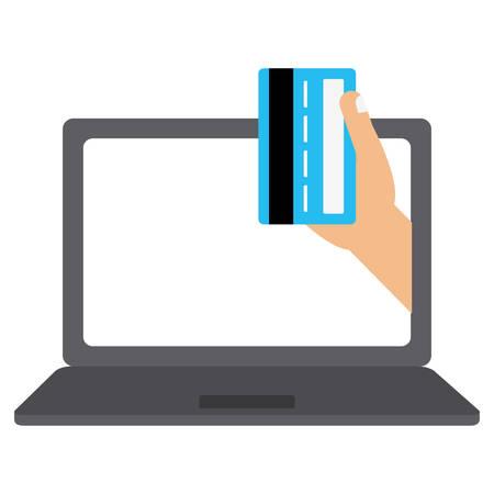 laptop computer with credit card vector illustration design Illustration