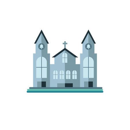 catholic church on white background vector illustration design Çizim