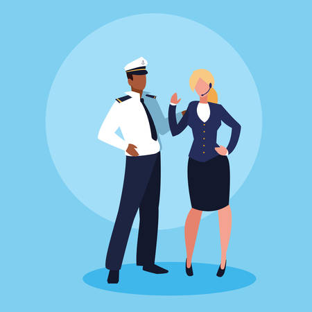 sailor man and businesswoman avatar character vector illustration design