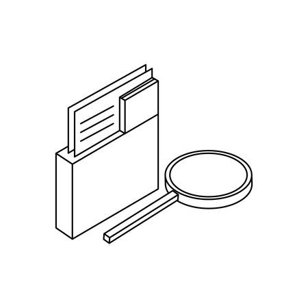 search magnifying glass with folders vector illustration design Çizim