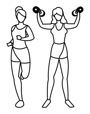 athletic women running and weight lifting vector illustration design Stock Vector - 134748109
