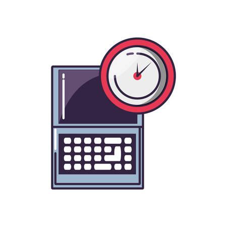 clock time with laptop computer vector illustration design Illustration