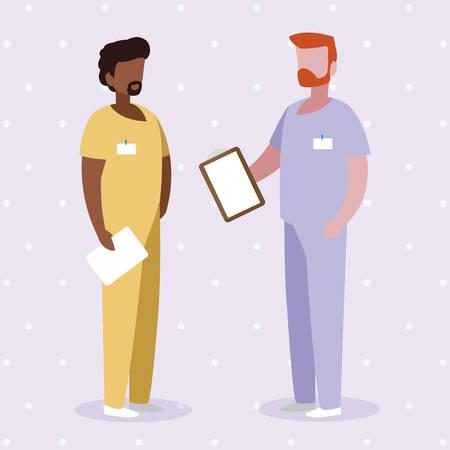 interracial male medicine workers with uniforms vector illustration design