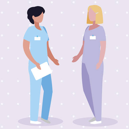 female medicine workers with uniform characters vector illustration design Illustration