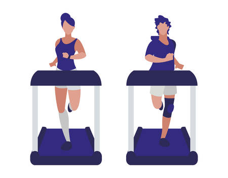 athletics couple running in electric treadmill tape vector illustration design