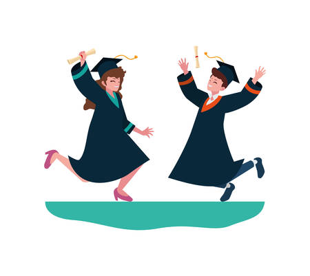 young couple students graduated celebrating vector illustration design Ilustração