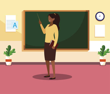black female teacher with textbook in classroom vector illustration design