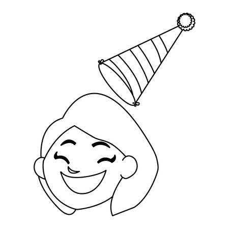 cute happy girl head with birthday hat vector illustration design